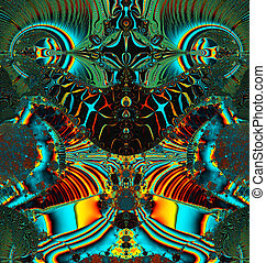 fractal illustration of cosmic frog - Colorful Fractal...