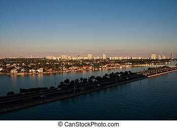 Road Across Biscayne Bay Into Sunset - A road through...