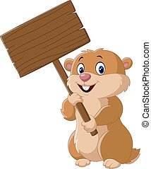 Cute Groundhog holding blank sign - Vector illustration of...