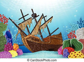 Illustration of Shipwreck - Vector illustration of Shipwreck...