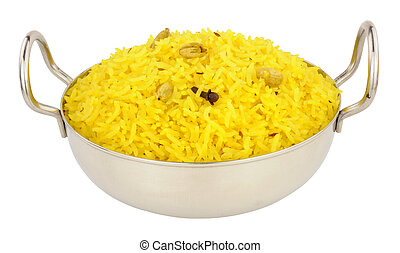 Bowl Of Yellow Pilau Rice - Yellow pilau rice in a stainless...