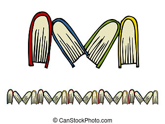 Hand drawn books pattern - Books following the M letter...
