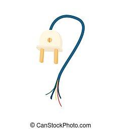 Plug with broken cord icon, cartoon style - Plug with broken...