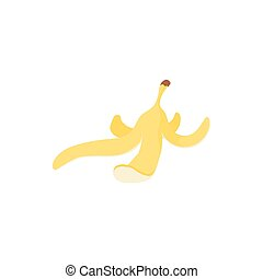 Banana peel icon, cartoon style - Banana peel icon in...