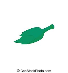 Broken green bottle icon, cartoon style - Broken green...