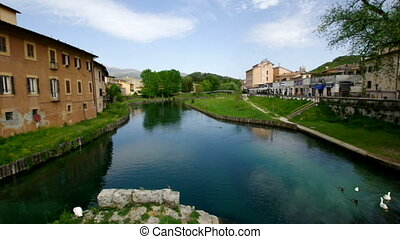 Velino river - Ancient roman bridge ruins in the Velino...