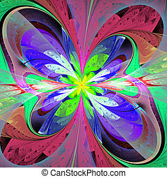 Multicolored asymmetrical fractal flower in stained glass...