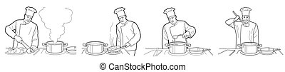 Cooking process with chef figures at the table in restaurant kitchen interior vector wide illustration.  Black on white background