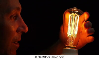Man Antique Filament Bulb Amusement