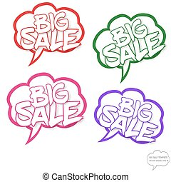 Big sale concept in comics bubbles
