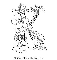 Letter K coloring book for adults vector - Floral alphabet...