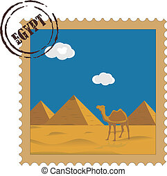 Old vintage postal stamp with Egyptian pyramids, famous...