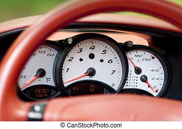 Sports car guages - Dashboard of a modern German sportscar...