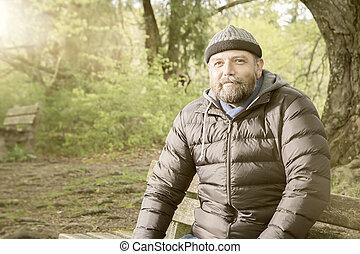 bearded man winter jacket - An image of a bearded man winter...