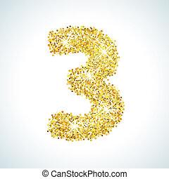 Trois, nombre, dans, Doré, style., Illustration, or,...