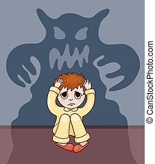 Little boy and his fear Vector cartoon bllustration