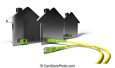 FTTH, Fiber To The Home 3D Illustration - 3D illustration of...