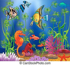 Underwater landscape with various water plants and swimming...