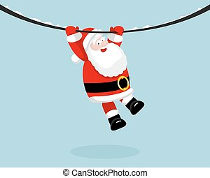 Santa Claus hanging on the rope