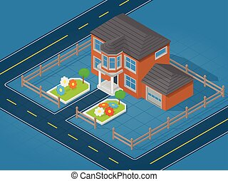 Isometric scene representing modern house and adjoining area...
