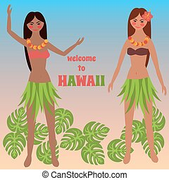 Colorful poster with tropical rest, time off on Hawaii...