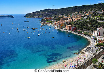 Villefranche-sur-Mer in the French Riviera, France - aerial...