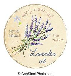 Lavender oil design label, vector illustration