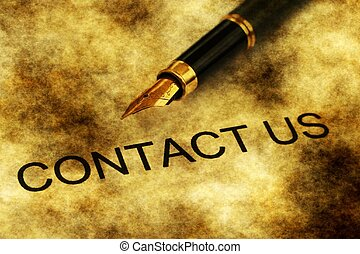 Fountain pen on contact us text