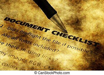 documento, Lista de verificação, grunge,...