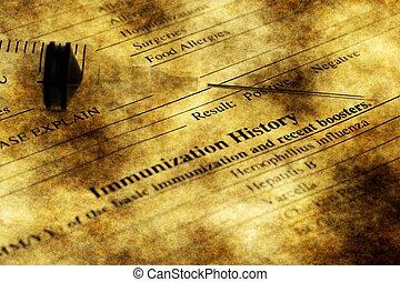 inmunización, historia, forma, Grunge, concepto,
