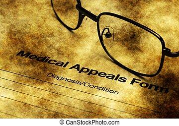 Medical appeals form grunge concept