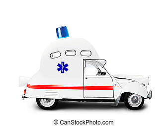 Ambulance car with flasher is a medical service