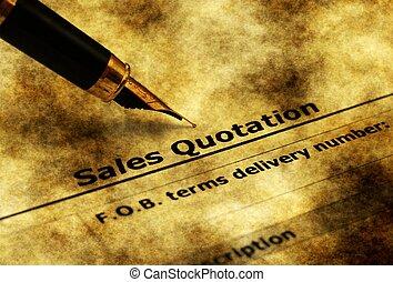Sales quotation form grunge concept