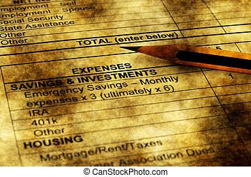 Monthly expenses form grunge concept