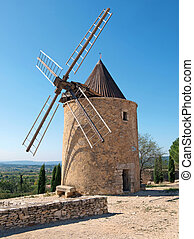 Windmill in Provence - stone windmill in St Saturnin,...