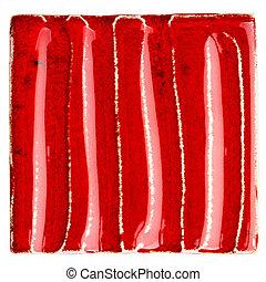 Handmade glazed red ceramic tile - Red lined handmade glazed...