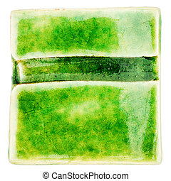 Handmade glazed ceramic tile - Green lined handmade glazed...