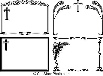 obituary notice - vector modern and art deco frames and...