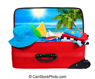 Luggage Packed to Vacation, Travel Suitcase Open Bag White -...