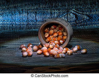 hazelnuts on an old table