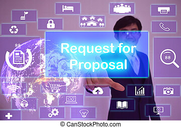 concepto,  (rfp), amueblado, pantalla, presentado, petición, imagen,  virtual, elemento, conmovedor, hombre de negocios, Propuesta,  NASA