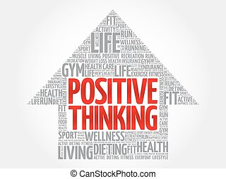 Positive thinking arrow word cloud, health concept