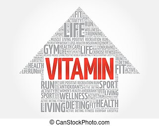 VITAMIN arrow word cloud, health concept