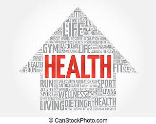 Health arrow word cloud, health concept