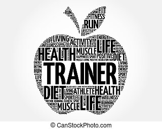 Trainer apple word cloud, health concept