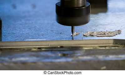 CNC Aluminium engraving process closeup