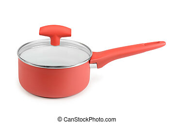 Red saucepan isolated on white background