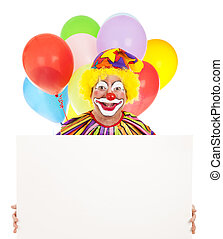 Happy Clown With Message - Happy clown holding a blank sign...