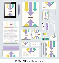 Set of vector corporate identity template. Modern branding stationery mock-up. Background with colorful arrows. Business, science, medicine or technology design