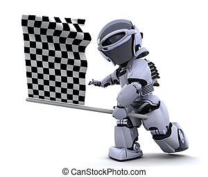 Robot waving chequered flag - 3D render of a Robot waving...
